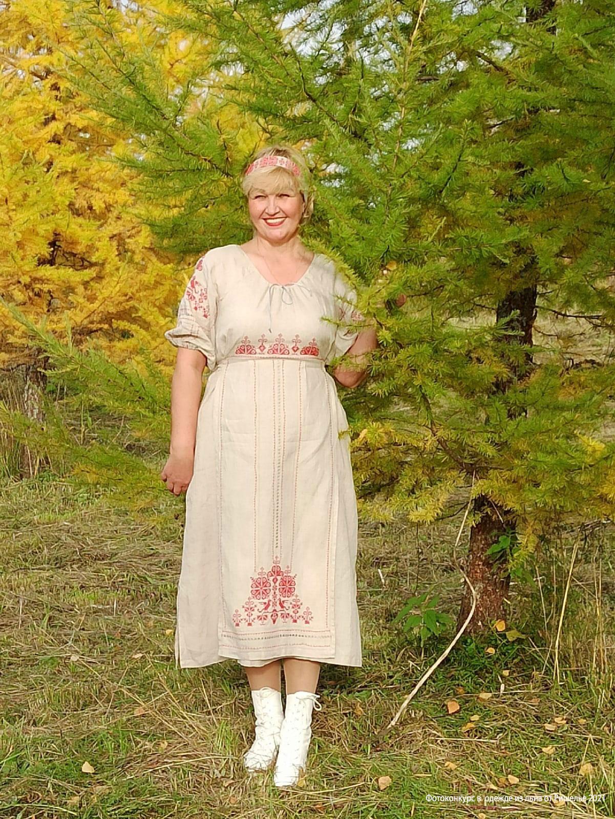 Купить платье в русском стиле из льна Россиянка с красной вышивкой в Москве в интернет-магазине | Фабрика Ришелье
