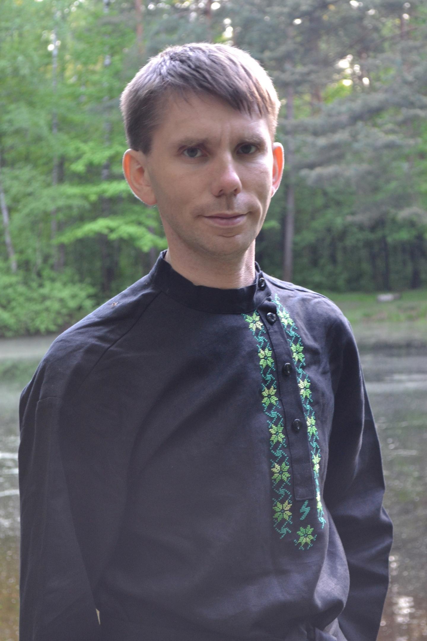 Черная косоворотка русская народная рубаха купить на сайте фабрики Ришелье
