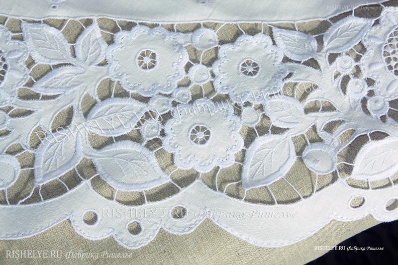 вышивка ришелье на круглой скатерти